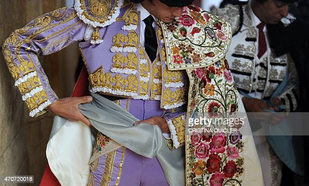 French matador Sebastian Castella prepares himself prior to taking part in a bullfight at the Maestranza bullring in Sevilla on April 22 2015 AFP...