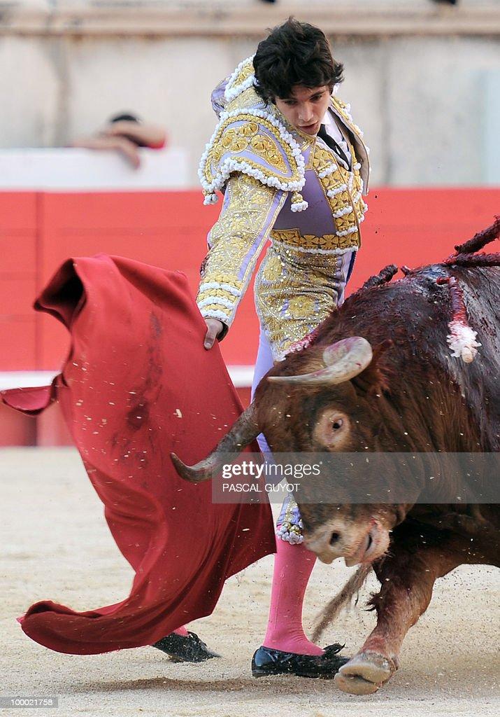 French matador Sebastien Castella performs a muleta on a Nunez del Cuvillo bull, on May 20, 2010, during the Nimes Feria Bullfighting Festival (Feria de la Pentecote).
