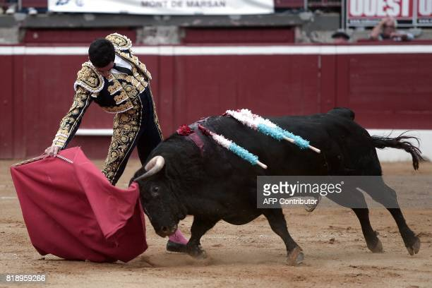 French matador Thomas Dufau fights a Juan Pedro Domecq bull at the Plumacon Arena in MontdeMarsan during the Festival of La Madeleine in southwestern...