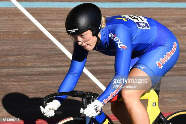 French Mathilde Gros competes during the Woman's individual Elite of the French championships on August 14 2017 at the Hyeres' velodrome southern...