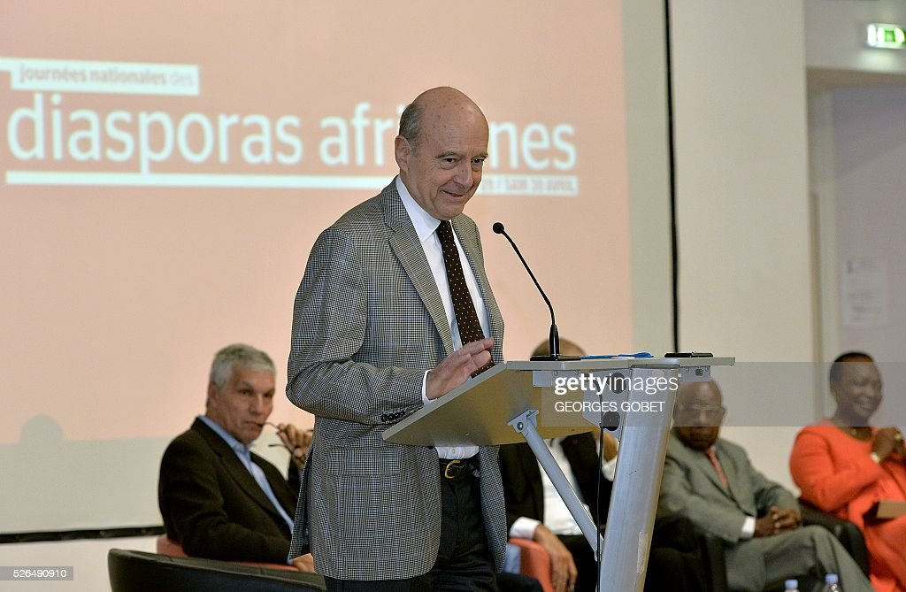 French Mayor of Bordeaux and French candidate for the right-wing Les Republicains (The Republicans) presidential primary Alain Juppe, delivers a speech during the opening ceremony of the 4th edition of the Days of African diaspora at the Joseph Wresinski room on April 30, 2016 in Bordeaux. The event Days of African diaspora lasts two days during which debates about the role of diaspora and its contribution to the developement of the African continent will take place. / AFP / GEORGES