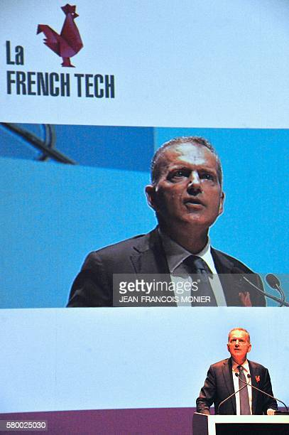 French Mayor of Laval François Zochetto delivers a speech on July 25 at the Theatre in Laval northwestern France The Economy Minister Emmanuel Macron...