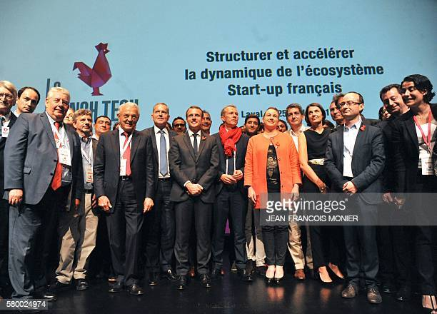 French Mayor of Laval François Zochetto French Economy and Industry minister Emmanuel Macron Member of Parliament Guillaume Garot and French junior...