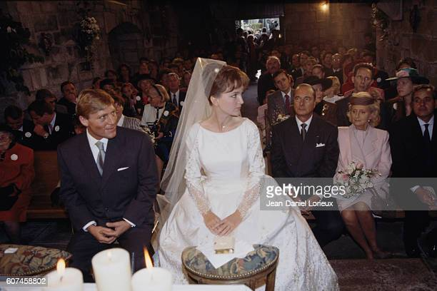 French mayor of Paris and former Prime Minister Jacques Chirac and his wife Bernadette during the wedding of their daughter Claude with political...