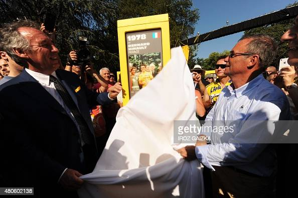 French Mayor of Pau Francois Bayrou and 5time Tour de France winner French Bernard Hinault inaugurate a totem as part of the 'Tour of Giants' a...