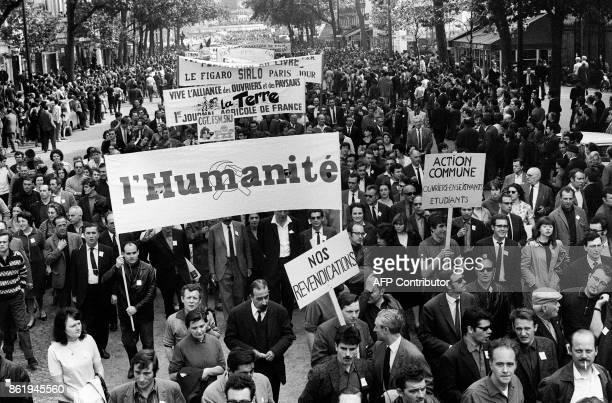 French media employees take part in the big demonstration called by the CGT and CFDT unions in Paris 29 May 1968 during the May 1968 movement and...