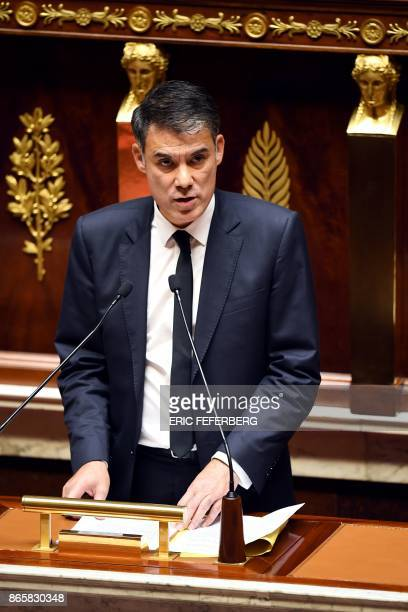 French member of Parliament and Nouvelle Gauche parliamentary group president Olivier Faure speaks during a debate ahead of a vote on public finance...