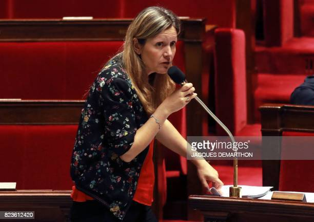 French member of Parliament and president of the parliamentary committee for law Yael BraunPivet speaks during a debate on a draft law on the...