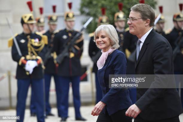 French member of Parliament Elisabeth Guigou arrives at the Elysee presidential Palace to attend Emmanuel Macron's formal inauguration ceremony as...