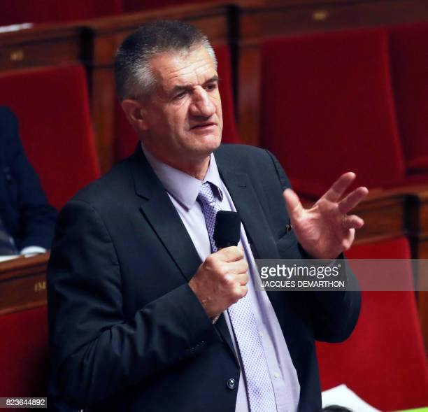 French member of Parliament Jean Lassalle speaks during a debate on a draft law on the moralisation of political life at the French National Assembly...