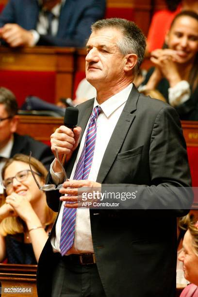 French Member of Parliament Jean Lassalle speaks during a session at the National Assembly in Paris on June 28 one day after the inaugural session of...