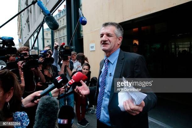 French Member of Parliament Jean Lassalle speaks to journalists as he walks out the National Assembly on June 27 2017 in Paris during the inaugural...