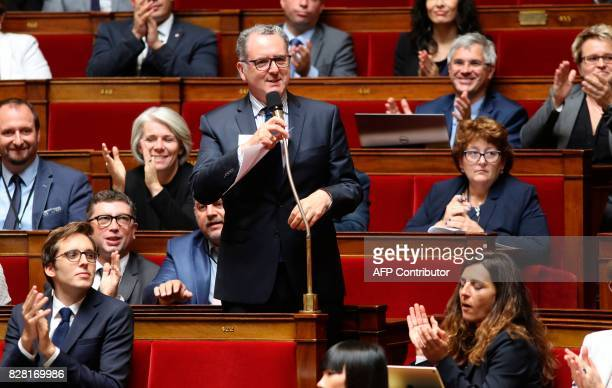 French Member of Parliament Maurice Richard Ferrand speaks at The National Assembly in Paris on August 9 2017 The French parliament is voting on an...