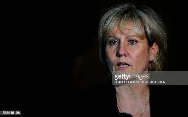 French member of the European parliament Nadine Morano speaks to journalist at Nancy's courthouse on May 24 after a hearing of the appeal trial of...