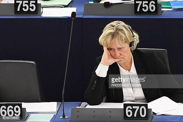 French member of the European parliament Nadine Morano takes part in a voting session at the European Parliament in Strasbourg eastern France on...