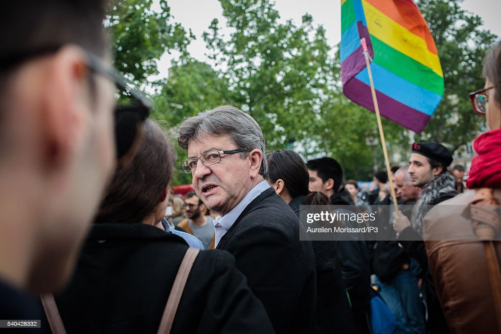 French Member of the Political Left Party (PG) and European deputy Jean Luc Melenchon attends the gathering of support organized after the worst mass shooing in United States history on June 13, 2016 in Paris, France. At a homophobic attack claimed by Isis, a gunman killed 49 people and wounded 53 others at a gay nightclub in Orlando, Florida early yesterday morning, before dying on-scene.