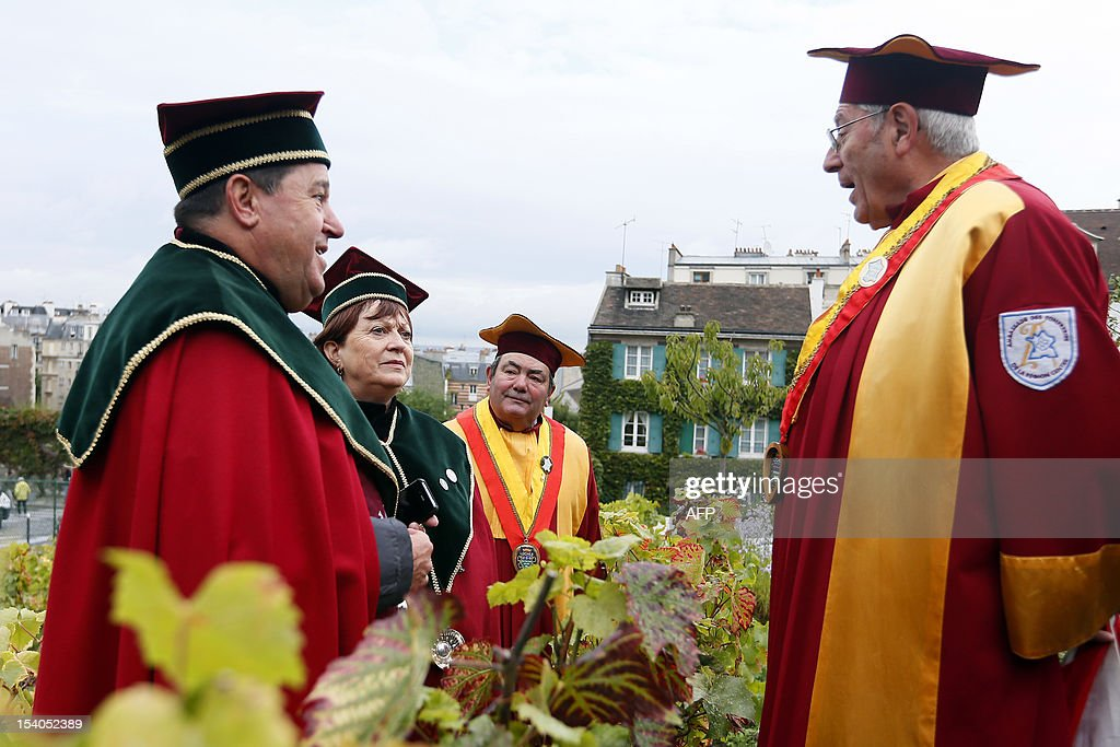 French members of 'La Commanderie du clos Montmartre collect grapes during the Montmartre vineyard's harvest on October 13, 2012 in Paris.
