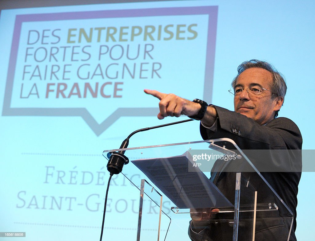 French Metal Industries Federation (UIMM) Chairman Frederic Saint-Geours gestures during a press conference, on April 5, 2013 in Paris, to announce his candidacy to French Employers association Medef's presidency. AFP PHOTO / ERIC PIERMONT