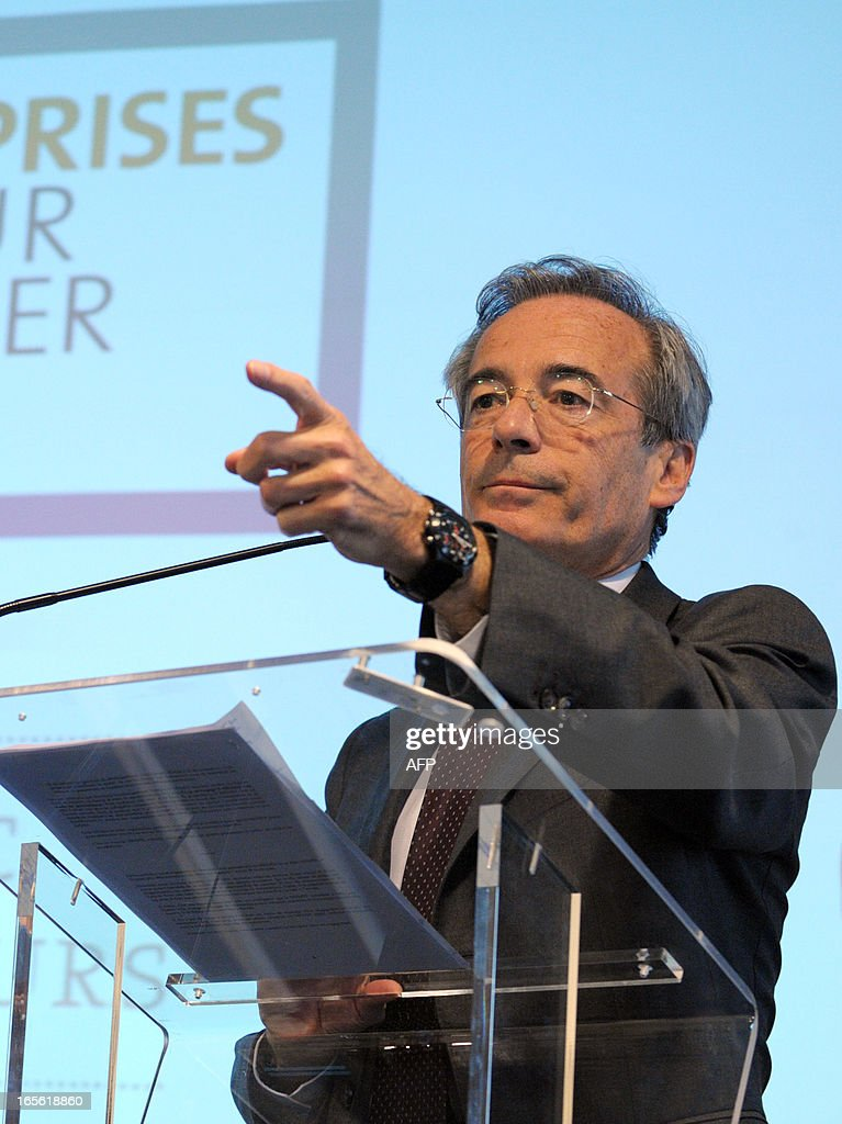 French Metal Industries Federation (UIMM) Chairman Frederic Saint-Geours gestures during a press conference, on April 5, 2013 in Paris, to announce his candidacy to French Employers association Medef's presidency.