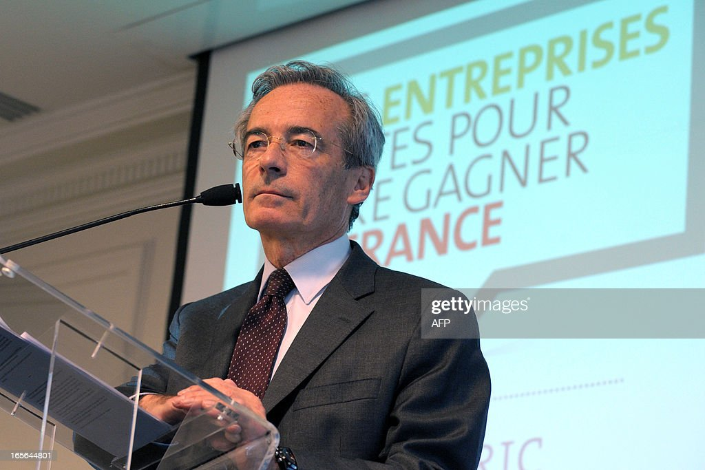 French Metal Industries Federation (UIMM) Chairman Frederic Saint-Geours gives a press conference, on April 5, 2013 in Paris, to announce his candidacy to French Employers association Medef's presidency.