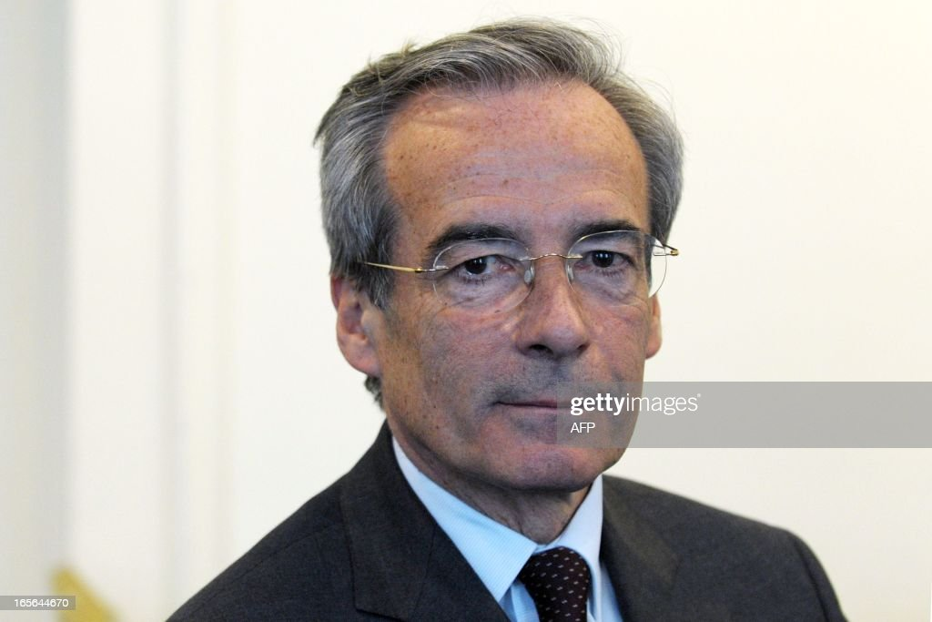 French Metal Industries Federation (UIMM) Chairman Frederic Saint-Geours poses at the end of a press conference, on April 5, 2013 in Paris, announcing his candidacy to French Employers association Medef's presidency.
