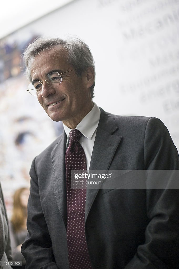 French Metal Industries Federation (UIMM) Chairman Frederic Saint-Geours attends on March 20, 2013 the inauguration of a space dedicated to technological industries at the Cite des Sciences in Paris. AFP PHOTO / FRED DUFOUR