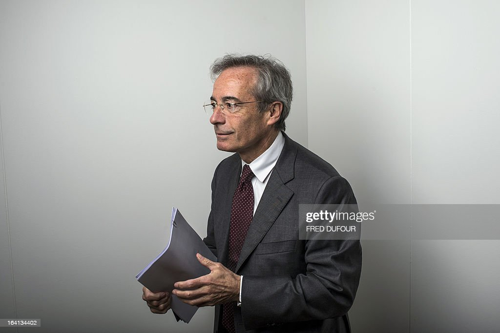 French Metal Industries Federation (UIMM) Chairman Frederic Saint-Geours prepares on March 20, 2013 to hold a press conference during the inauguration of a space dedicated to technological industries at the Cite des Sciences in Paris.