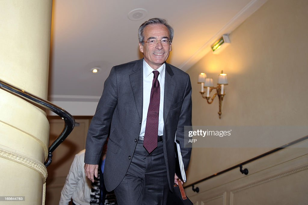 French Metal Industries Federation (UIMM) Chairman Frederic Saint-Geours arrives to give a press conference, on April 5, 2013 in Paris, to announce his candidacy to French Employers association Medef's presidency.