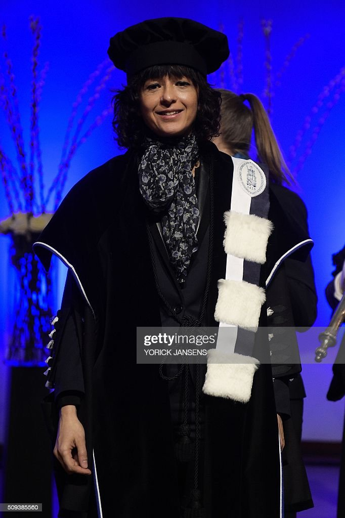 French microbiologist Emmanuelle Charpentier attends a ceremony for the Doctors Honoris Causa honorary degrees at the KU Leuven university, on February 10, 2016. / AFP / BELGA / YORICK JANSENS / Belgium OUT