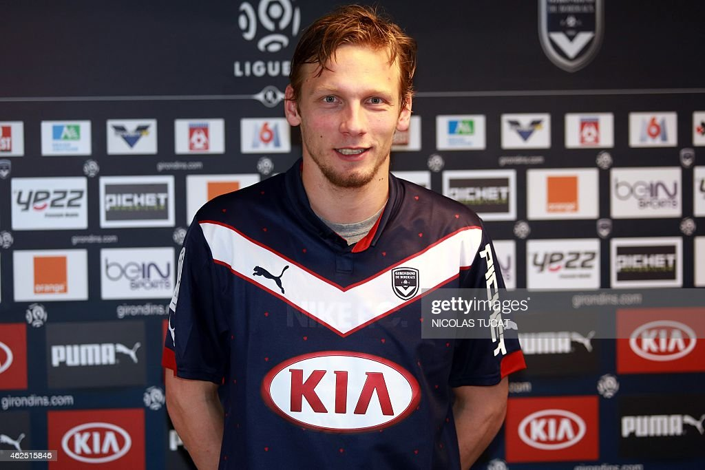 French midfielder <a gi-track='captionPersonalityLinkClicked' href=/galleries/search?phrase=Clement+Chantome&family=editorial&specificpeople=3180935 ng-click='$event.stopPropagation()'>Clement Chantome</a> poses with his jersey after he was introduced as a new the Girondins de Bordeaux player on January 30, 2015 in Le Haillan training center near Bordeaux. Chantome moved from Paris Saint-Germain to Bordeaux during the winter transfert window and signed a one and a half year contract.