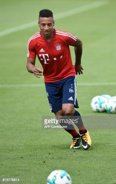 French midfielder Corentin Tolisso new recruit of German first division Bundesliga football club Bayern Munich plays the ball during a training...