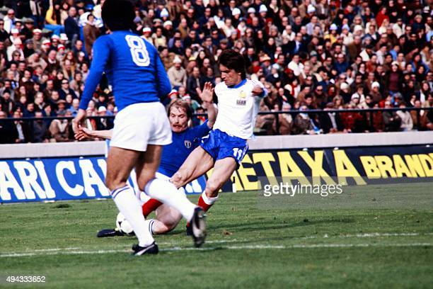 French midfielder Henri Michel vies with Italian defender Gaetano Scirea during the 1978 World Cup football match between France and Italy on June 2...