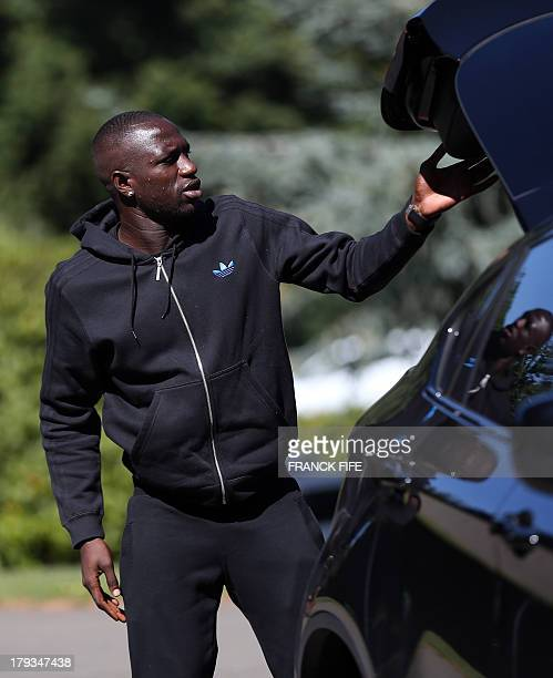 French midfielder Moussa Sissoko arrives at the French national football team training base in ClairefontaineenYvelines near Paris on September 2...