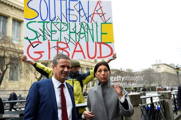 French militant JeanBaptiste Redde aka Voltuan demonstrates in support of whistleblower Stephanie Gibaud a former employee of banking group UBS as...