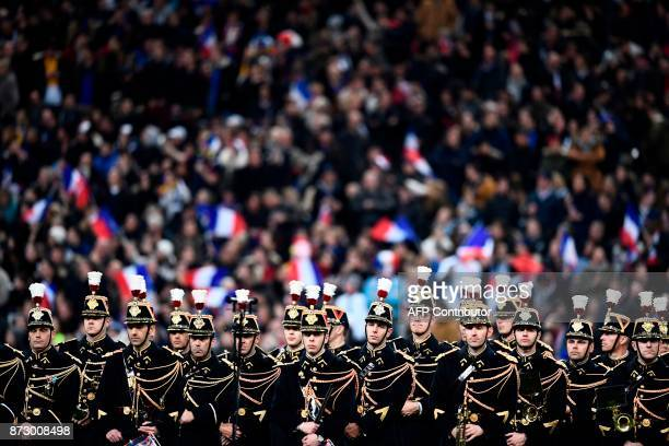 French military band perform ahead of the friendly rugby union international Test match between France and New Zealand All Blacks at The Stade de...