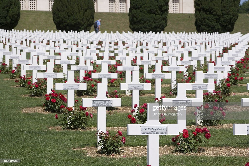 French military cemetery at the memorial Ossuaire de Douaumont for the soldiers killed during World War I near Verdun on August 09, 2013 in Douaumont, France.