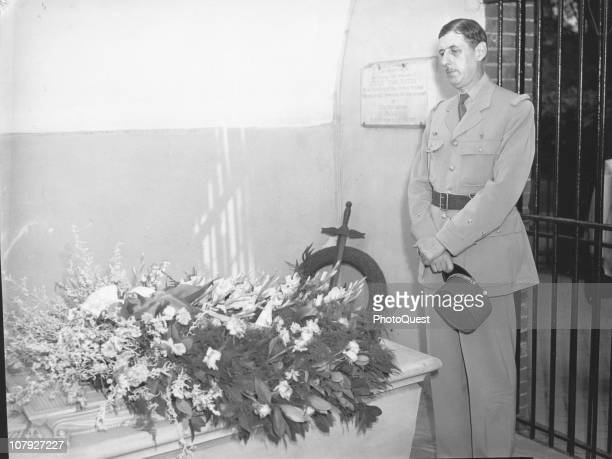 French military commander General Charles De Gaulle head of French National Committee pays his respects at George Washington's tomb at Mount Vernon...