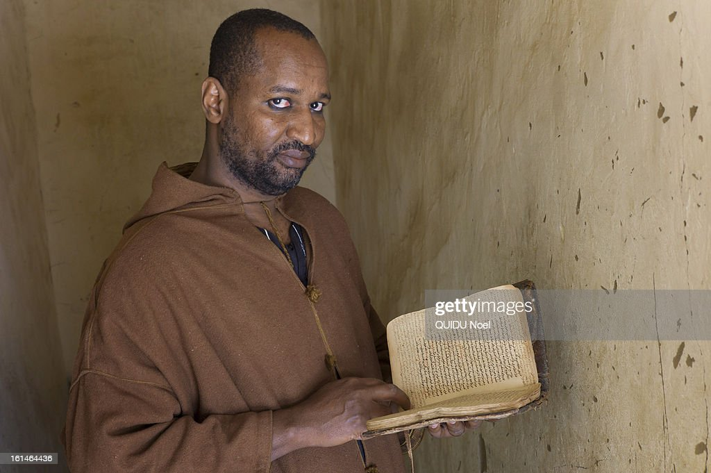 French military intervention in Mali, Serval Operation, against islamist liberation of Timbuktu , Abdoulhamia Kunta who protected ancient manuscripts from destruction during the time of the occupation of Timbuktu by Islamists poses on January 28, 2013.