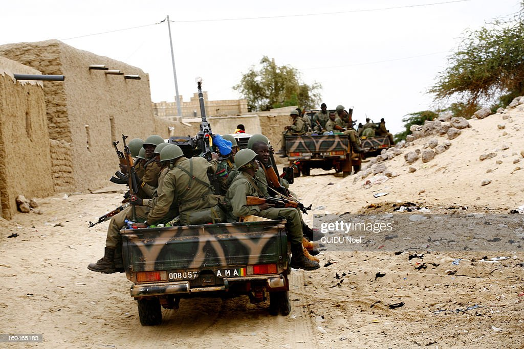 French military intervention in Mali Serval operation against the Islamic jihad, the release of Timbuktu, Malian army patrol the streets on January 28,2013 .