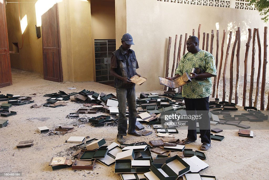 French military intervention in Mali Serval operation against the Islamic jihad, the release of Timbuktu, Ahmed-Baba center the library where Islamists have burned all rare books and ancient manuscripts on January 29, 2013.