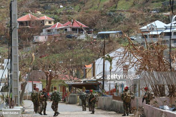 French military personal patrol the streets of Cay Bay Saint Maarten days after this Caribbean island sustained extensive damage after the passing of...