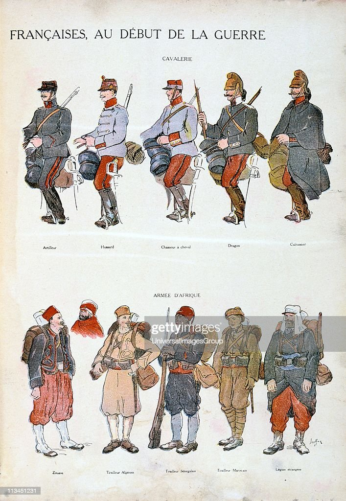 French military uniforms in World War I, 1914-1918. Top: Cavalry. Bottom: African forces. Coloured print'