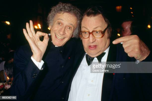 French mime Marcel Marceau and Belgian comedian Raymond Devos during the 4th evening of the Molieres Awards for French theater