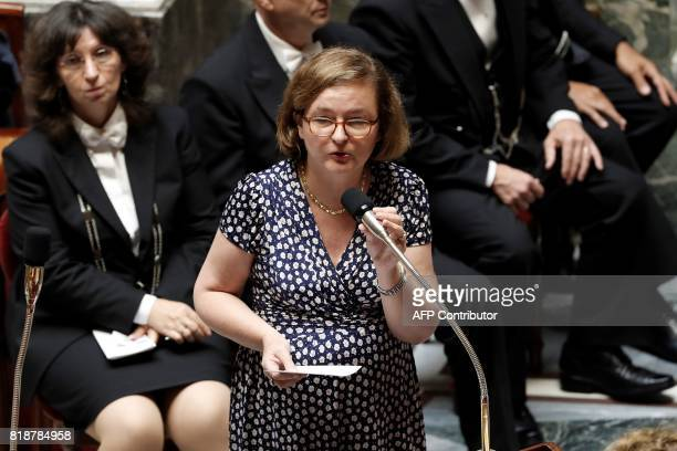 French Minister attached to the Foreign Affairs Minister Nathalie Loiseau speaks during a session of questions to the government at the French...