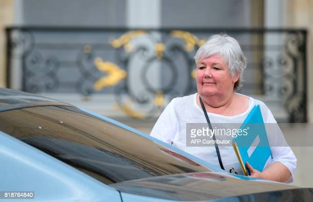 French Minister attached to the Interior Minister Jacqueline Gourault leaves the Elysee palace in Paris on July 19 after the weekly cabinet meeting /...