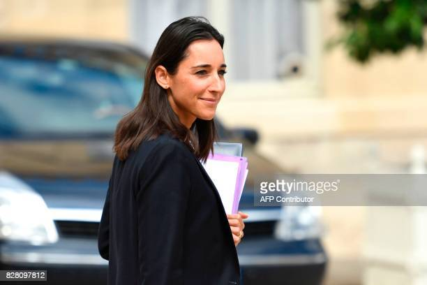 French Minister attached to the Minister of Ecological and Inclusive Transition Brune Poirson leaves a cabinet meeting at the Elysee Palace on August...