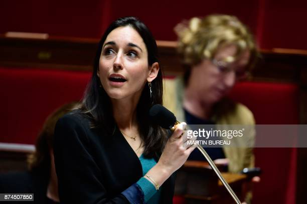 French Minister attached to the Minister of Ecological and Inclusive Transition Brune Poirson speaks during a session of questions to the government...