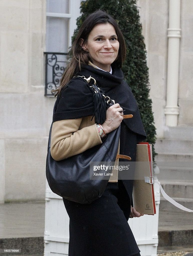 French Minister Aurelie Filippetti departs the French Cabinet Meeting at Elysee Palace on January 30, 2013 in Paris, France.