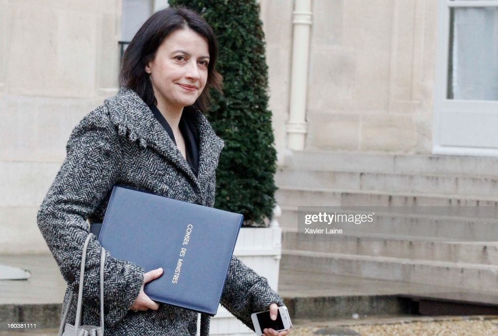 French Minister <a gi-track='captionPersonalityLinkClicked' href=/galleries/search?phrase=Cecile+Duflot&family=editorial&specificpeople=4057002 ng-click='$event.stopPropagation()'>Cecile Duflot</a> departs the French Cabinet Meeting at Elysee Palace on January 30, 2013 in Paris, France.