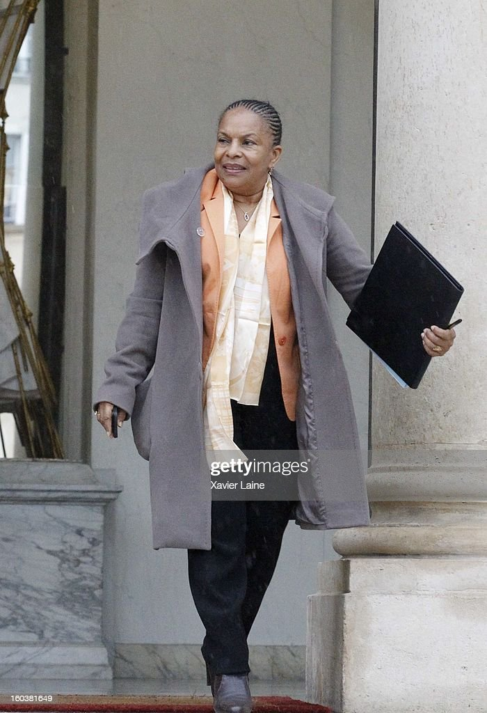 French Minister Christiane Taubira departure to French Cabinet Meeting at Elysee Palace on January 30, 2013 in Paris, France.